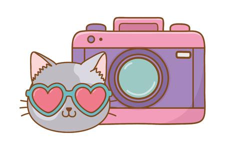 Illustrazione per cat and photographic camera icon cartoon vector illustration graphic design - Immagini Royalty Free