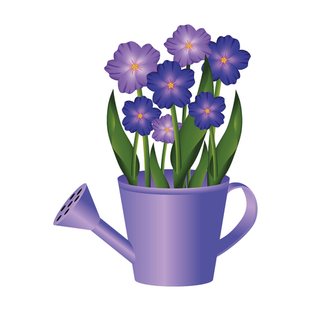 Illustration for floral tropical flowers inside watering can cartoon vector illustration graphic design - Royalty Free Image