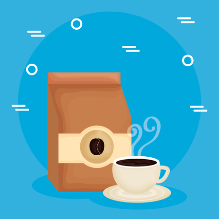 Illustration for delicious coffee cup and bag vector illustration design - Royalty Free Image