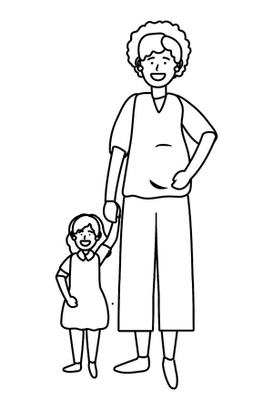 Ilustración de pregnant woman with child avatar cartoon character black and white vector illustration graphic design - Imagen libre de derechos