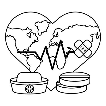 Ilustración de world saving eco heart rate hurt with bandage plaster cartoon vector illustration graphic design - Imagen libre de derechos