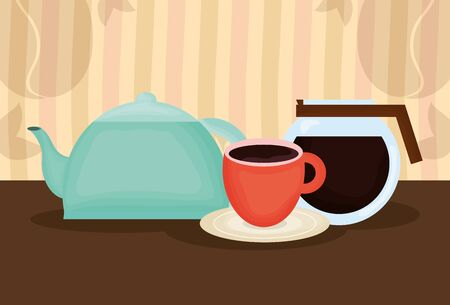 Illustration for delicious coffee and tea time icons vector illustration design - Royalty Free Image