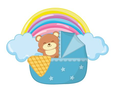 Illustration pour cradle with toy bear and a blanked with cloud and rainbow vector illustration graphic design - image libre de droit
