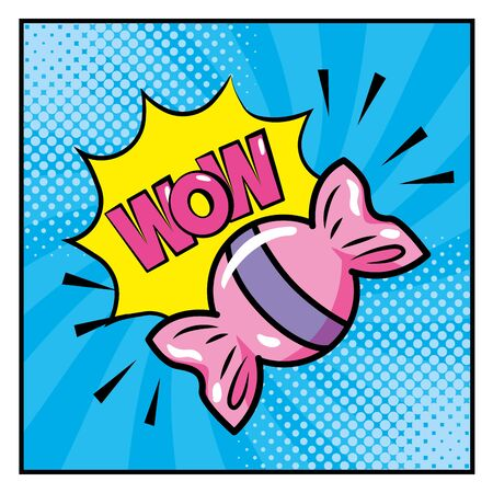 Illustration pour sweet candy with wow pop art message vector illustration - image libre de droit