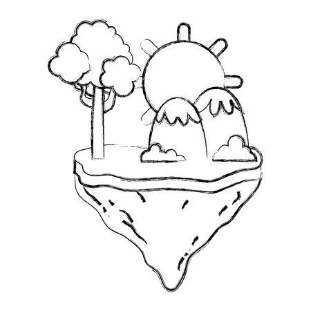 Ilustración de grunge sun with tree and mountains in the float island - Imagen libre de derechos