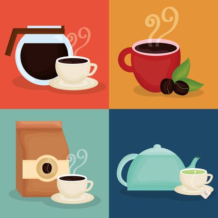 Illustration for delicious coffee and tea time icons - Royalty Free Image