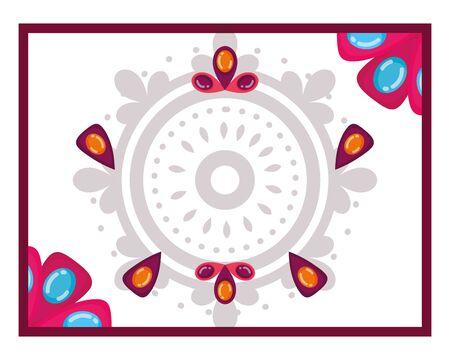 Illustration pour Mandale frame of bohemic concept - image libre de droit