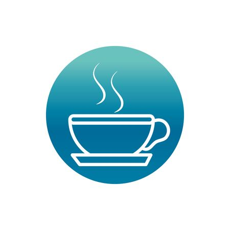 Illustration for office hot coffee cup breakfast vector illustration block gradient style icon - Royalty Free Image