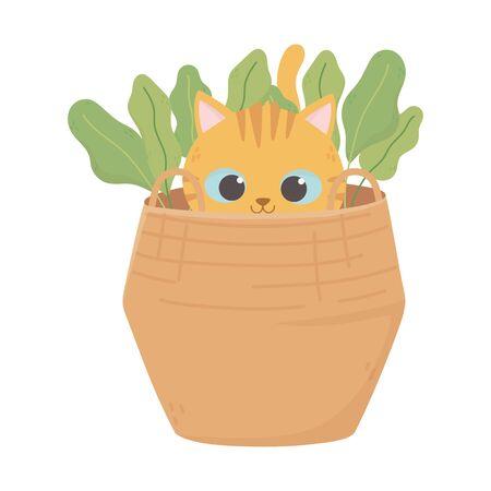 Illustrazione per little cat in the basket with nature icon - Immagini Royalty Free