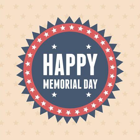 happy memorial day, badge decoration inscription stars american celebration