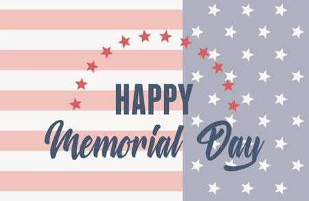 happy memorial day, greeting card with usa flag american celebration