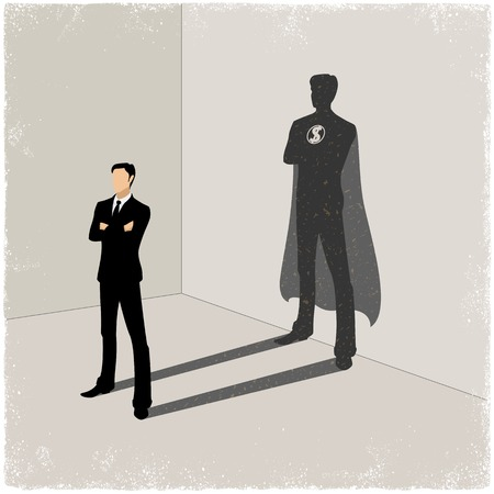 Illustration for Businessman casting superhero shadow in vector - Royalty Free Image