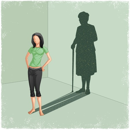 Illustration for Young lady casting shadow of old woman in vector - Royalty Free Image