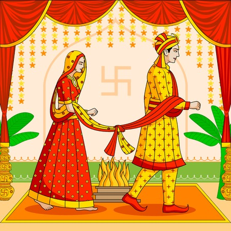 Illustration for Bride and Groom in Indian Hindu Wedding - Royalty Free Image