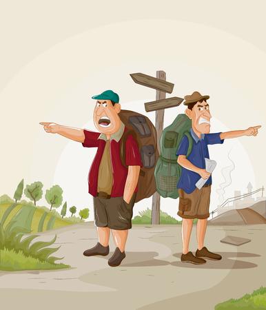 Ilustración de Tourist traveling and exploring destination with travel guide - Imagen libre de derechos