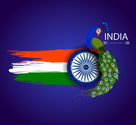 Illustration pour 15th August Independence of India tricolor background - image libre de droit