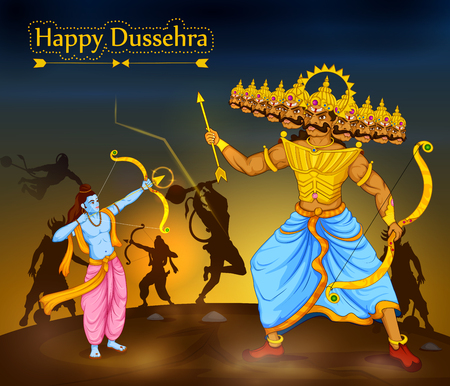 Illustrazione per Lord Rama killing Ravana during Dussehra festival of India in vector - Immagini Royalty Free