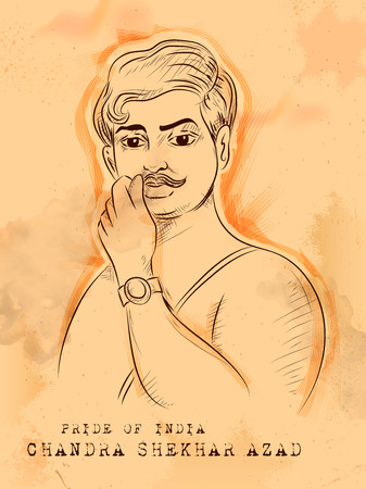 Illustration pour Vintage Indian background with Nation Hero and Freedom Chandra Shekhar Azad Pride of India - image libre de droit