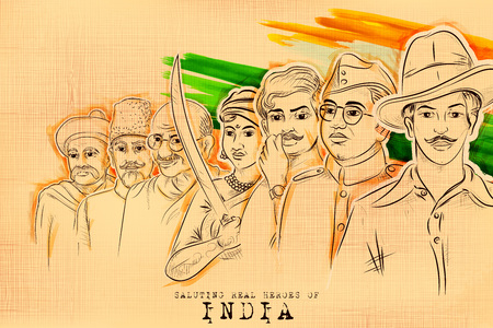 Illustration pour illustration of Tricolor India background with Nation Hero and Freedom Fighter like Mahatma Gandhi, Bhagat Singh, Subhash Chandra Bose for Independence Day - image libre de droit
