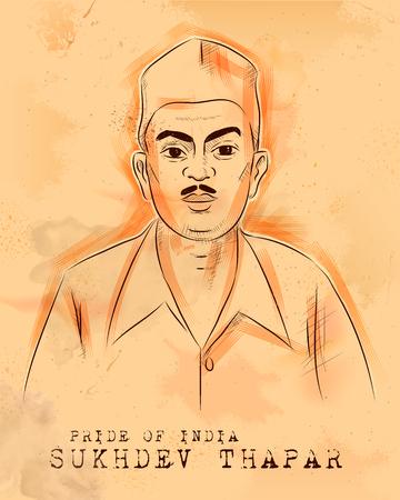 Illustration pour illustration of Vintage Indian background with Nation Hero and Freedom Fighter Sukhdev Thapar Pride of India - image libre de droit