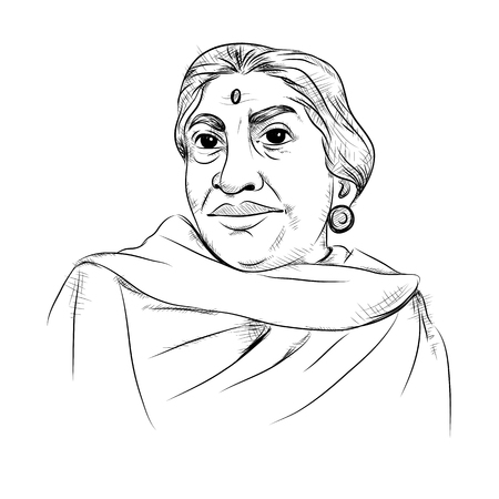 Illustration pour illustration of Indian background with Nation Hero and Freedom Fighter Sarojini Naidu Pride of India - image libre de droit