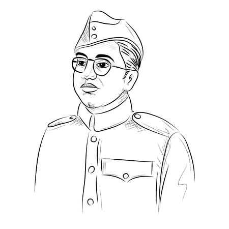 Illustration pour illustration of Indian background with Nation Hero and Freedom Fighter Subhash Chandra Bose Pride of India - image libre de droit