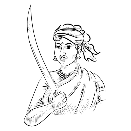 Illustration pour illustration of Indian background with Nation Hero and Freedom Fighter Rani Lakshmibai Pride of India - image libre de droit
