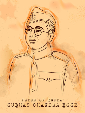 Illustration pour Vintage Indian background with Nation Hero and Freedom Fighter Subhash Chandra Bose Pride of India - image libre de droit