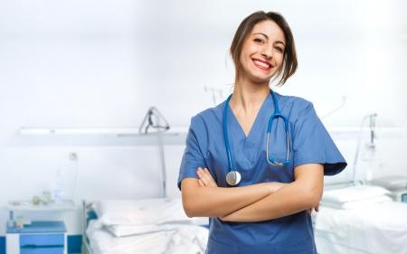 Foto de Portrait of a beautiful smiling nurse - Imagen libre de derechos