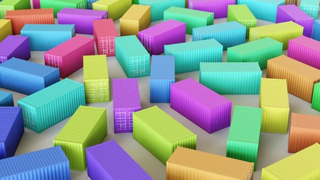Photo for Neat uniform array of variously coloured Shipping Containers under clean studio lighting. This image is a 3d illustration. - Royalty Free Image
