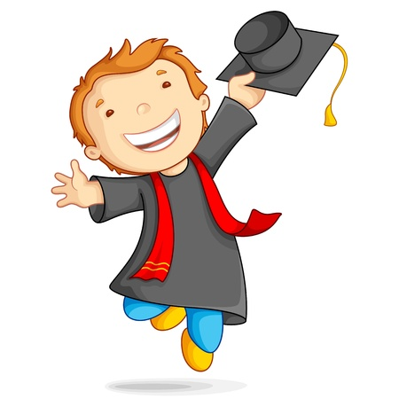 illustration of boy in graduation gown and mortar board