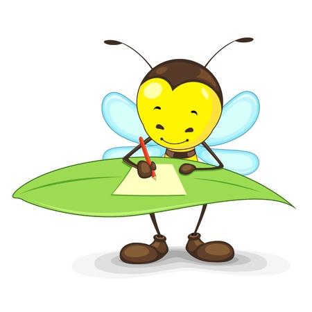 Illustration pour Editable vector bee writing on a leaf - image libre de droit