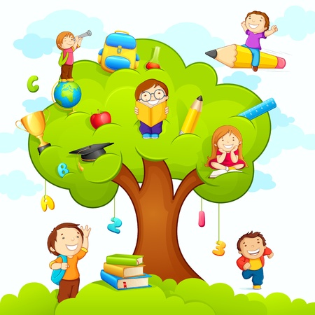 Photo for Kids studying on Tree - Royalty Free Image