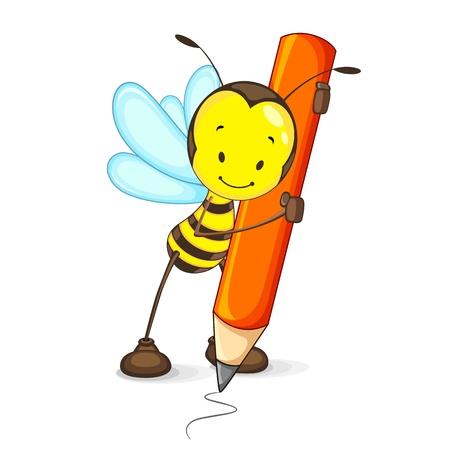 Illustration pour Bee Drawing with Pencil - image libre de droit