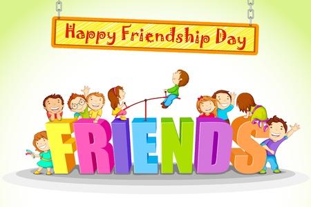 Illustration for vector illustration of kids celebrating Friendship Day - Royalty Free Image
