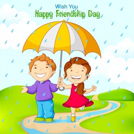vector illustration of friend celebrating Friendship Day in rain
