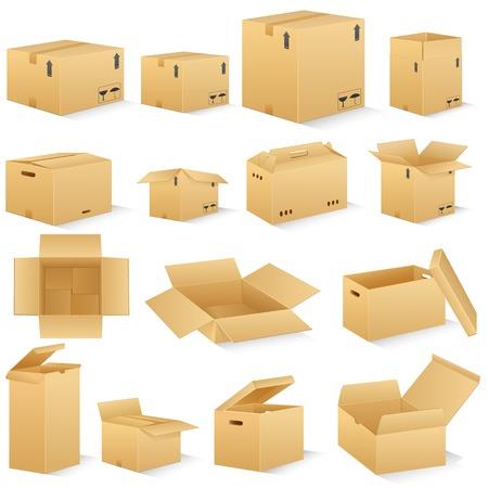Illustration pour vector illustration of different shape carton box - image libre de droit