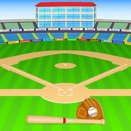 Illustration pour vector illustration of baseball field with bat, ball and gloves - image libre de droit