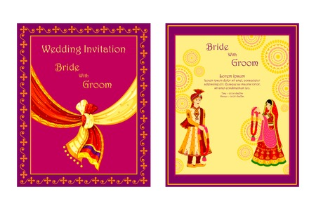 Illustration pour vector illustration of Indian wedding invitation card - image libre de droit