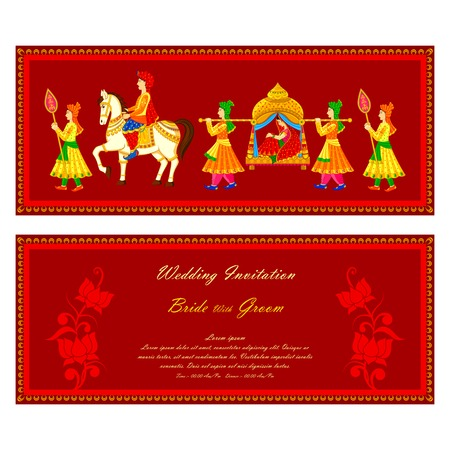 Photo pour vector illustration of Indian wedding invitation card - image libre de droit