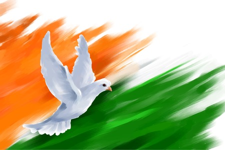 Illustration pour illustration of dove flying on Indian Flag for Indian Republic Day - image libre de droit