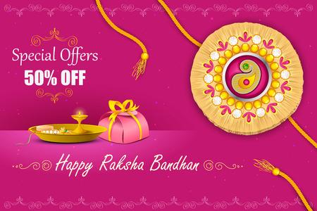 vector illustration of decorated rakhi with gift for Raksha Bandhan Sale
