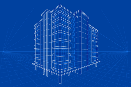 Ilustración de easy to edit vector illustration of blueprint of building - Imagen libre de derechos