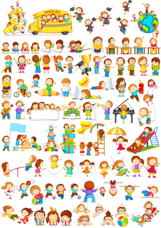 Illustration for vector illustration of children doing different fun activities liking painting,studying,sports and music - Royalty Free Image