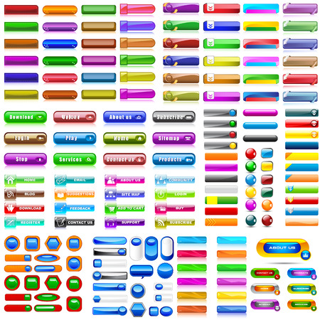 Illustration pour vector illustration of collection of colorful blank web buttons for website or app - image libre de droit