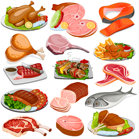 vector illustration of Poultry and Meat Product Food Collection