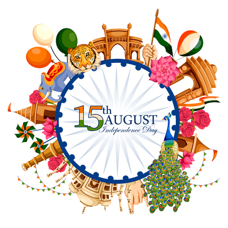 Illustration pour Indian tricolor background for 15th August Happy Independence Day of India - image libre de droit