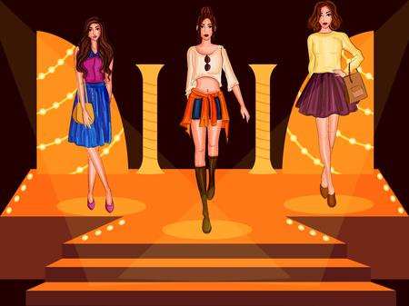 Ilustración de Beautiful modern stylish woman model on ramp - Imagen libre de derechos