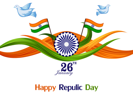 Illustration for 26 January Happy Republic Day of India background - Royalty Free Image