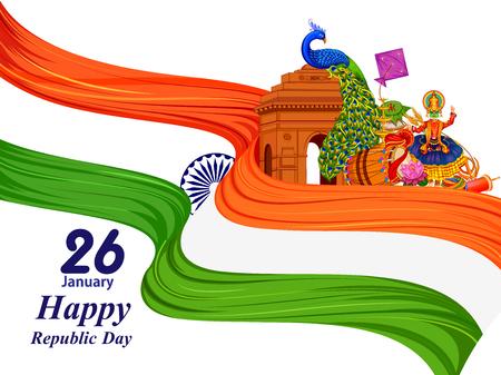 Illustration pour 26 January Happy Republic Day of India background - image libre de droit
